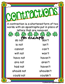 St. Patrick's Day Contractions with NOT