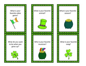 St. Patrick's Day Conversation Cards!