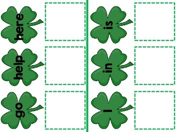 St. Patrick's Day Core Vocabulary Match Game Autism, SLP, Special Education