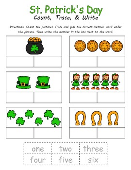 St. Patrick's Day Count, Trace, & Write (2 Sheets)