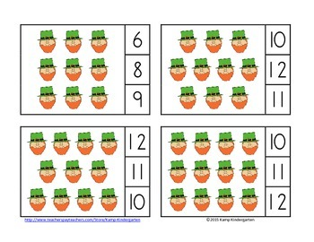 St. Patrick's Day Count and Clip Cards (Sets to 12)