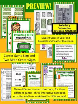 St Patrick's Day Money Counting Bills Center Games Anchor Charts and Printables