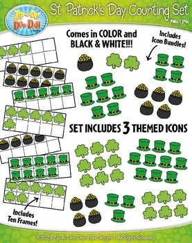St. Patrick's Day Counting and Ten Frames Clipart {Zip-A-Dee-Doo-Dah Designs}