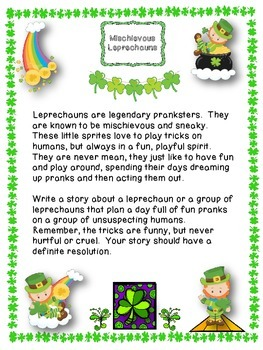 St. Patrick's Day Creative Writing-Mischievous Leprechauns: Prompts & Materials