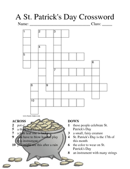 St. Patrick's Day Crossword Fun