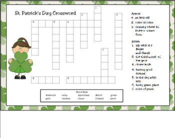 st patrick s day crossword puzzle for smart board by paula peterson