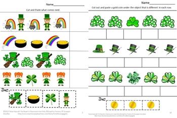 St. Patrick's Day Math & Literacy Centers Cut & Paste, Kindergarten Special Ed.