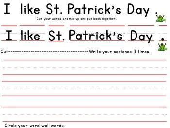 St. Patrick's Day Cut Up Sentences