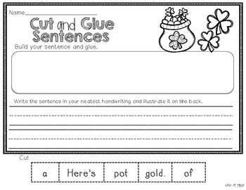St. Patrick's Day Cut and Glue Sentences