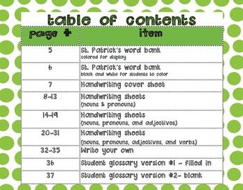 St. Patrick's Day D'Nealian Handwriting & Parts of Speech Practice