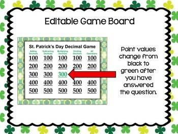 St. Patrick's Day Decimal Game - Similar to Jeopardy