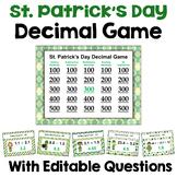 St. Patrick's Day Decimal Game Similar to Jeopardy