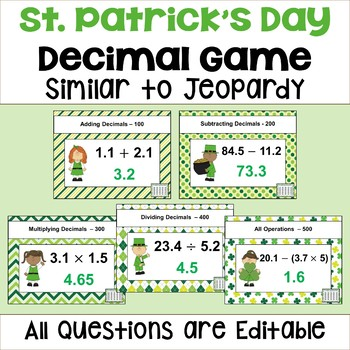 St. Patrick's Day Decimal Game - Similar to Jeopardy