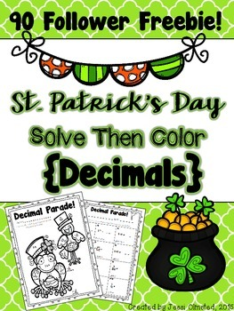 St. Patrick's Day Decimal Solve then Color FREEBIE!