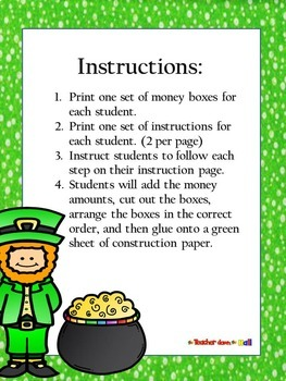 St. Patrick's Day Math - Adding and Ordering Decimals Puzzle