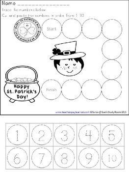 St. Patrick's Day Developing Math Skills for Preschool, PreK and K
