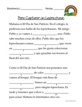 St Patricks Day (Dia de San Patricio) Fill-in in Spanish