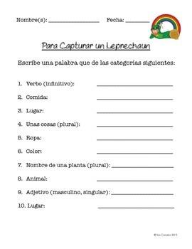 St Patricks Day (Dia de San Patricio) Fill-in in Spanish