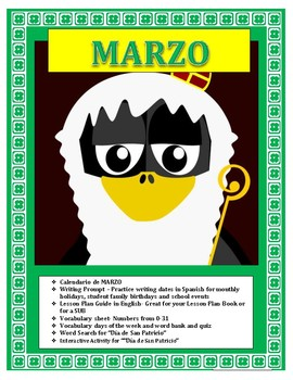 Spanish St Patrick's Day- March Calendar-Interactive San Patricio Activity