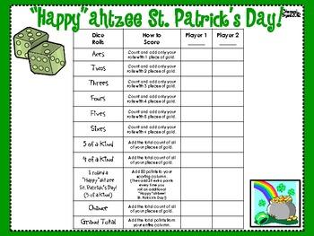 "St. Patrick's Day Dice Game (""Happy""ahtzee St. Patrick's Day!)"