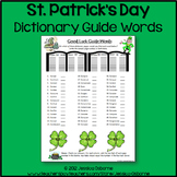 St. Patrick's Day Dictionary Guide Words