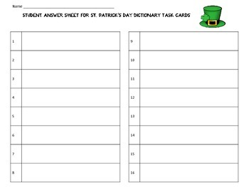 St. Patrick's Day Dictionary and Thesaurus Skills Task Cards by KMediaFun