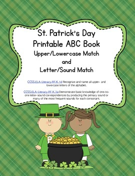St. Patrick's Day Letter Sound Match Printable Book (Common Core Aligned)