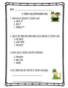St. Patrick's Day Differentiated  Nonfiction and Reading Comprehensio