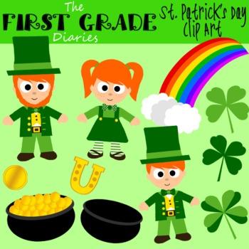 St. Patrick's Day {Digital Clip Art} Four Leaf Clover, Leprechaun, Pot of Gold