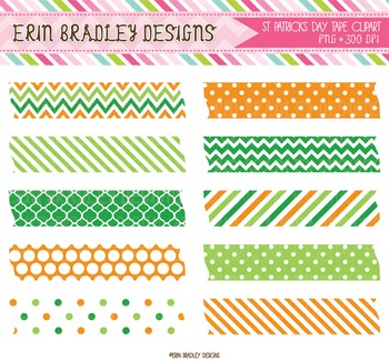 St Patricks Day Digital Clipart Labels Green & Orange Patterns