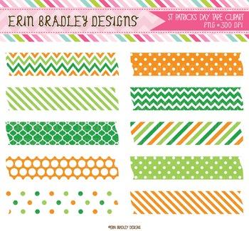 St Patricks Day Digital Clipart Labels Green & Orange Patterns