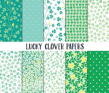 St Patricks Day Digital Paper, Digital Paper Pack, Lucky Clover, Scrapbook Paper
