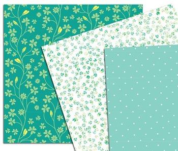 St Patricks Day Digital Paper, Digital Paper Pack, Lucky Clover, Scrapbook Paper