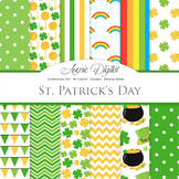 St Patricks Day Digital Paper Scrapbook Backgrounds Lucky Clover Vector Patterns
