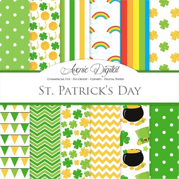 24+ St Patrick's Day Digital Papers, Celtic Backgrounds, Green Scrapbook Papers Image