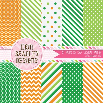 St Patricks Day Digital Paper Set in Green and Orange
