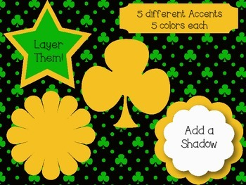 St. Patrick's Day Digital Paper and Accent Pack~ Commercial Use OK!