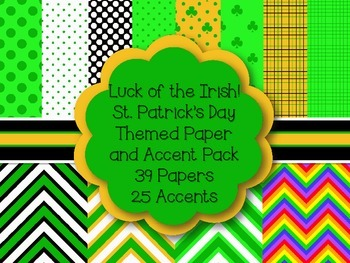 St. Patrick's Day Digital Paper and Accent Pack~ Commercia
