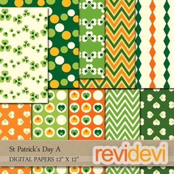 St Patrick's Day Digital Papers - patterned background