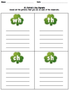 St. Patrick's Day Digraphs Game