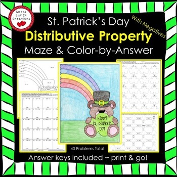St. Patrick's Day Math Distributive Property (Negs) Maze & Color by Number
