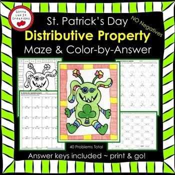 St Patrick's Day Math Activity Bundle Distributive Property (No Negs)
