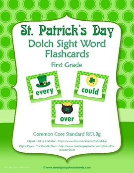 St Patrick's Day Dolch Sight Word Flashcards - First Grade