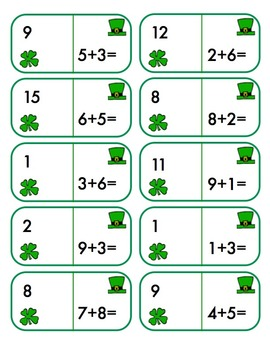 St. Patrick's Day Dominoes -Complete Math Fact Practice +/-