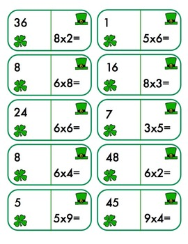 St. Patrick's Day Dominoes -Complete Math Fact Practice x/÷