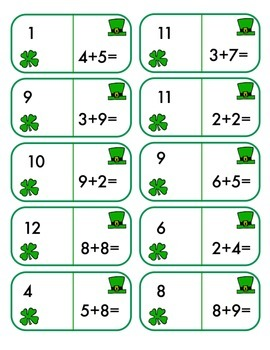 St. Patrick's Day Dominoes - Math Fact Practice +/-