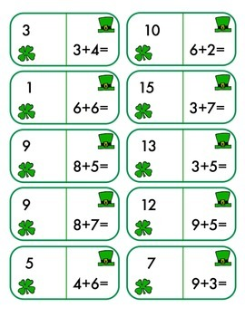 St. Patrick's Day Dominoes - Math Fact Practice +/- Set 2