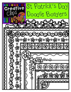 St. Patrick's Day Doodle Borders {Creative Clips Digital Clipart}