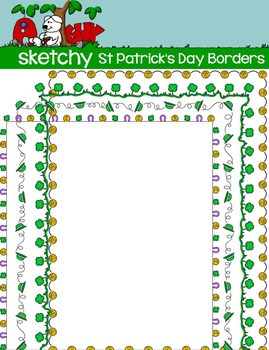 St Patrick's Day Doodle Borders / Frames in Color