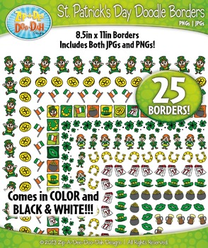 St. Patrick's Day Doodle Frame Borders Set  — Includes 25